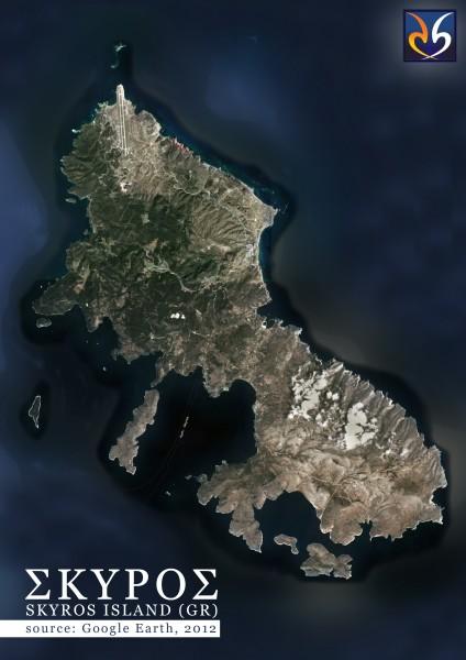 Η Σκύρος από τον δορυφόρο / Skyros Isl. from Satellite